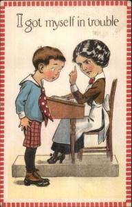 Little Boy at School in Trouble w/ Teacher c1915 Postcard