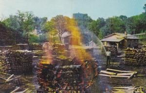 Tennessee Lynchburg Making Charcoal At Jack Daniel Distillery