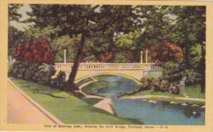 Maine Portland View Of Deerings Oaks Showing The Arch Bridge Dexter Press