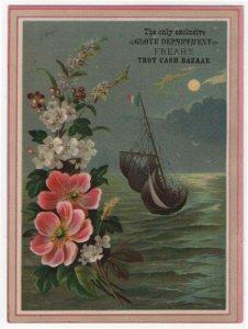 FREAR'S TROY CASH BAZAAR, Trade Card, Sailing at Night, Pretty Flowers, 1883