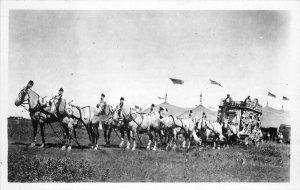 Citrus Wagon Horses Tent 1940s RPPC Photo Postcard 20-4768