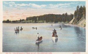 YELLOWSTONE, Wyoming, 1900-1910s; Fishing Boats At Lake Outlet, Yellowstone Park