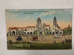 Postcard Mining Building Panama Calif Expo San Diego 1913 Old Cars LA NY 1037
