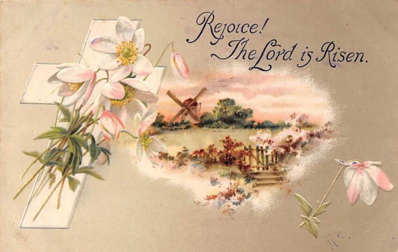 Rejoice! The Lord is Risen! Blossom Flowers, Cross, Windmill