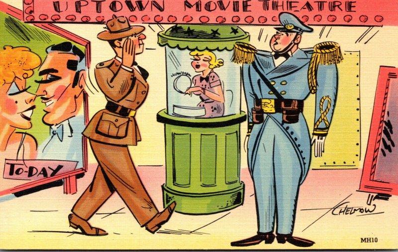 Humour Uptown Movie Theatre Soldier Slauting Doorman