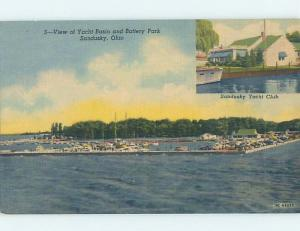 Unused Linen YACHT BOAT CLUB BUILDING AT BATTERY PARK Sandusky Ohio OH F4444
