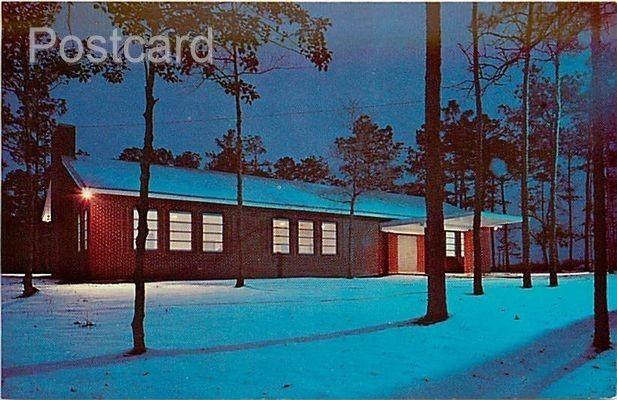 NC, Mount Olive, North Carolina, Oak Ridge Community Building, Winter Scene, ...