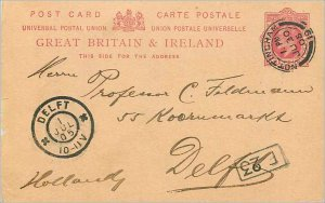 Entier Postal Stationery 1p Nottingham for Delft 1905