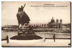 Old Postcard Marseille Heroes Monument To The Sea And The Cathedral