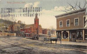 Derby Connecticut~Derby Junction~Railroad Tracks in Street~Horse w Blanket~1912