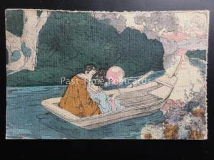 Greeting: HAND PAINTED Japanese Lady & Gentleman in Boat c1904 by M.Ettlinger