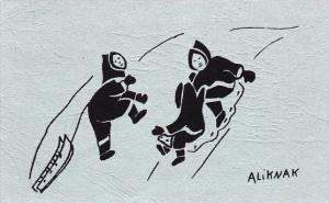Eskimos & Sled art work , Holman Eskimos , NWT , Canada , PU-1971