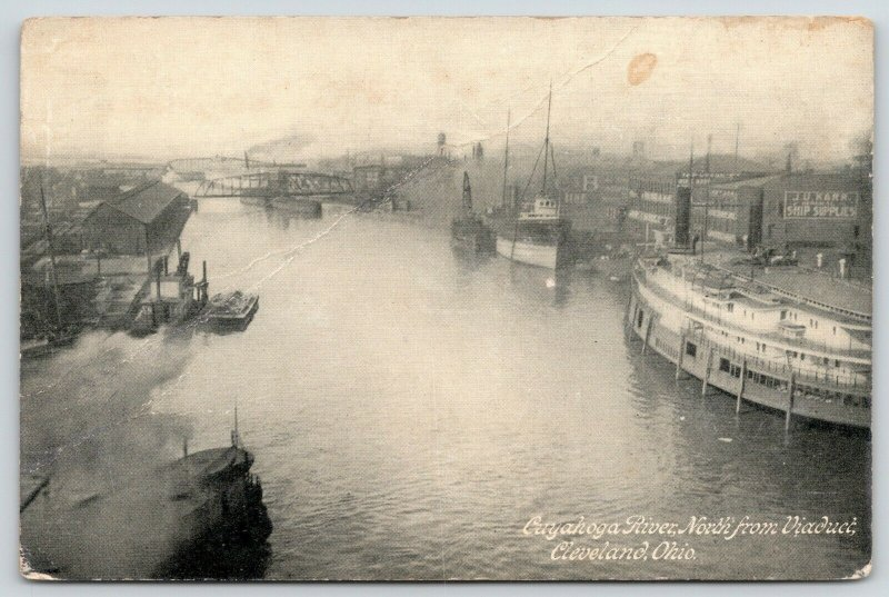 Cleveland Ohio~Cuyahoga River North @ Viaduct~JU Karr Ship Supplies~Steamer~1910