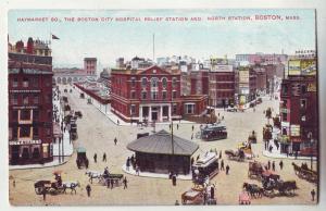P787 old haymarket sq city hospital horse & wagons etc n. station boston mass