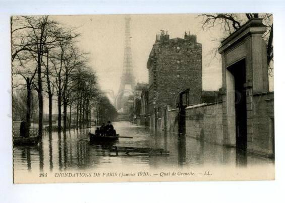 172192 FRANCE PARIS flooding 1910 Quai de Grenelle Vintage PC
