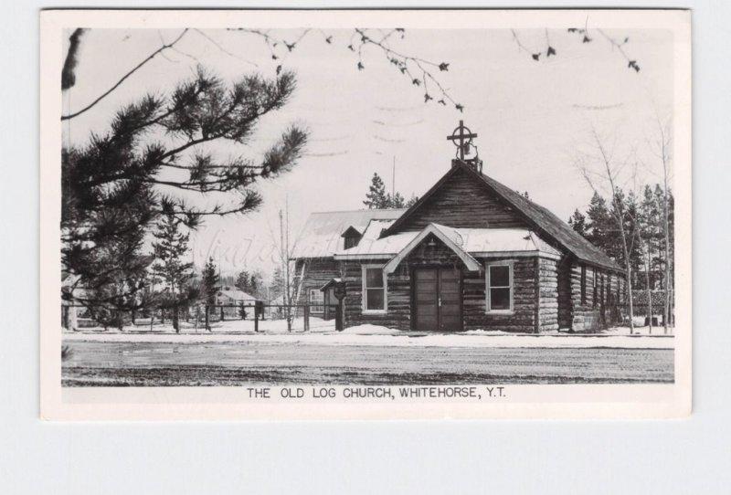 RPPC REAL PHOTO POSTCARD CANADA YUKON TERRITORY WHITEHORSE OLD LOG CHURCH EXTERI