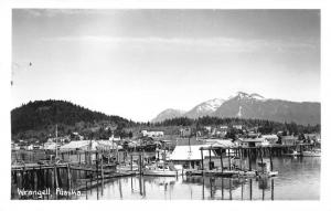 Wrangell Alaska birds eye view boats pier mountains real photo pc Y11099
