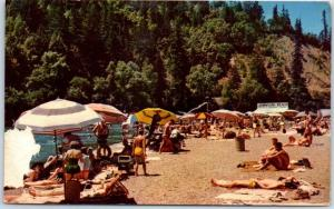 Guerneville, California Postcard Johnson's Beach Russian River Bathing 1950s