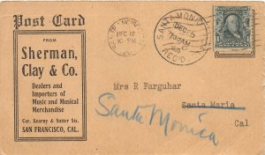 F81/ San Francisco California Postcard 1905 Sherman, Clay Co Farguhar