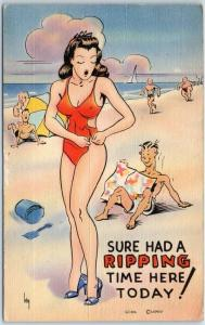 Vintage Comic Postcard Beach Humor She Had a Ripping Time Here Today Linen