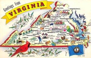 Greetings from Virginia, USA Map Unused