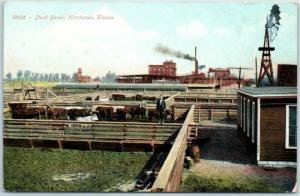 Hutchinson, Kansas Postcard Stock Yards Cattle Steer Windmill c1910s Unused