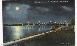 Illinois Cairo Moonlight Scene On The Ohio River 1966 Curteich