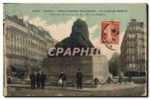 Postcard Old Paris Denfert-Rochereau The Lion of Belfort