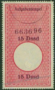 3rd Reich Security Stamp Aufgabestempel 15 Dssd (Duesseldorf) 46618