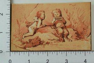 Victorian Trade Card Pan & Cherub Flute Outside Scene F68