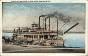 LOUISVILLE KY Loading Steamboat on the River c1920 Postcard