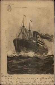 Hambur Amerika Line Steamship - Willy Stower c1905 Postcard
