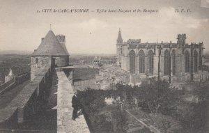 CARCASSONNE, France, 1910-1920s, Cite de Carcassonne - Eglise Saint-Nazaire e...