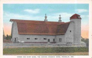Horse Dairy Barn Farm Indiana Masonic Home Franklin Indiana 1930s postcard