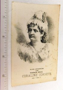 Lovely Actress Alice Atherton Uses Dr. Warner's Coraline Corsets Trade Card F51