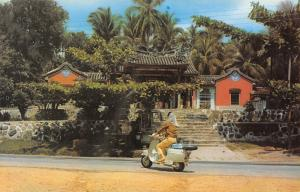 Penang Malaysia~Woman on Motor Skooter at the Snake Temple~1970s Postcard
