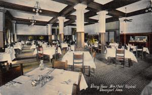 Davenport IA Ceiling Fans~White Table Cloths~Dining @ New Kimball Hotel c1910