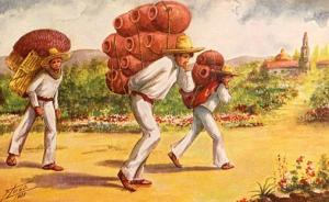 Mexico - Mexican men carrying heavy loads