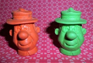 Vintage Yogi Bear Ranger Smith Pencil Topper Erasers Marked HB 1976 FUN