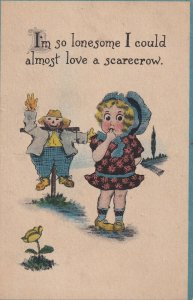 So lonesome I could almost love a scarecrow, Girl wearing bonnet, PU-1917