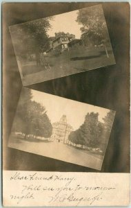 NEWARK, New Jersey RPPC Real Photo Postcard - 2 Building Views / 1906 NJ Cancel