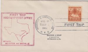 FIRST TRIP HIGHWAY POST OFFICE mail between Houston & Beeville, TX, 1952 - COVER