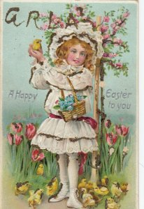 EASTER ; Girl , A Happy Easter to you , 00-10s ; TUCK # 700 ; Embossed