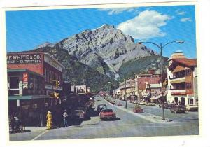 Banff Avenue With Stoney Squaw Mt. & Cascade Mountain, Banff National Park, A...