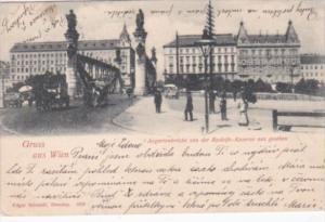 Austria Gruss Aus Wien Augartenbruecke von der Rudolfs-Kaserne aus Gesehen 1899