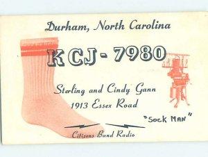 Pre-1980 RADIO CARD - CB HAM OR QSL Durham North Carolina NC AH1651