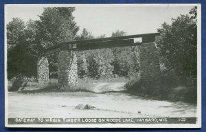 Hayward Wisconsin wi Gateway Virgin Timber Lodge Moose Lake photo postcard RPPC