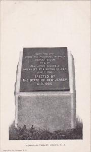 New Jersey Union Memorial Tablet
