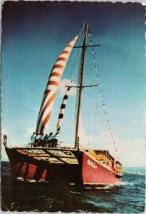 Henry Kaiser's Catamaran Ale Ale Kai 5 Waikiki HI Hawaii Unused Postcard C1