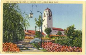 Linen Card of Union Pacific Depot & Gardens Boise Idaho ID